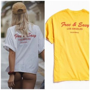 FREE AND EASY LA Deli Graphic Tee T Shirt Yellow